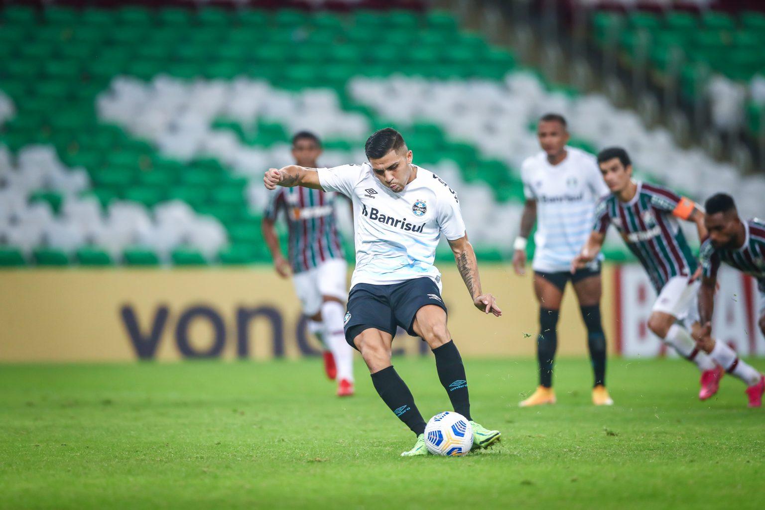 O gol da partida foi marcado de pênalti no fim do jogo por Piñares. (Foto: Lucas Uebel/Grêmio FBPA)